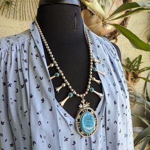 Vintage Squash Blossom Necklace 70s Faux Turquoise
